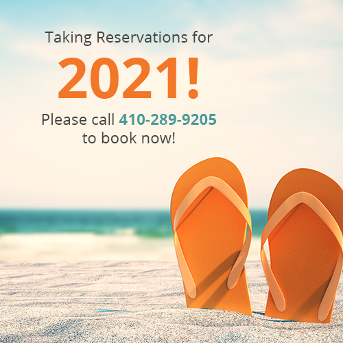 Taking reservations for 2021! Please call 410-289-9205 to book now!